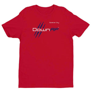 Down AF Premium Fitted Short Sleeve Crew with Tear Away Label (Houston - Red, white, & Blue) - TribalAF
