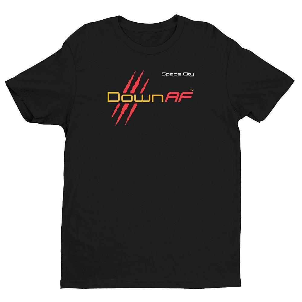 Down AF Premium Fitted Short Sleeve Crew with Tear Away Label (Houston - Red & Yellow) - TribalAF