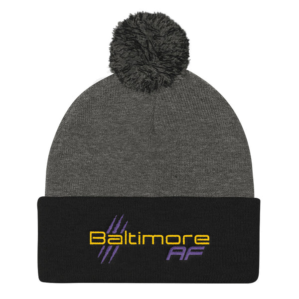 Baltimore AF Pom Pom Beanie (Purple) - TribalAF
