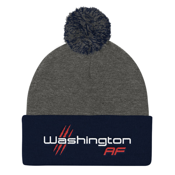 Washington AF Pom Pom Knit Cap (Red, White, & Blue) - TribalAF