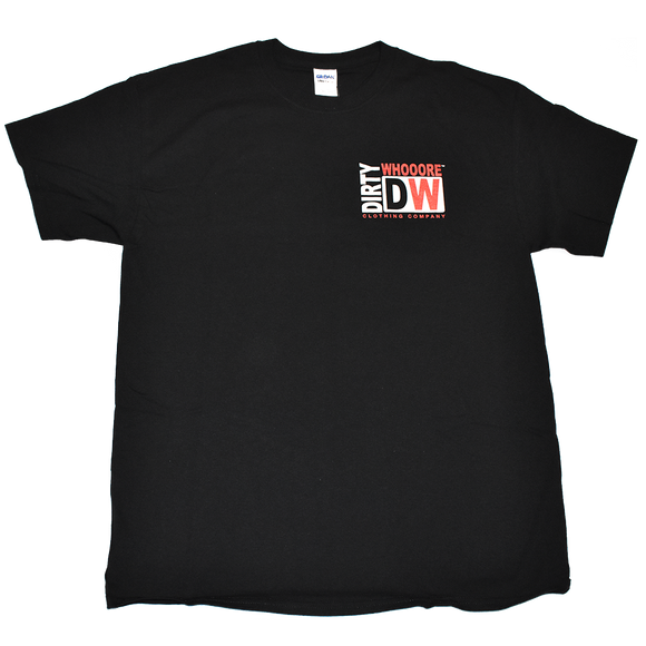 Dirty Whooore Men's Black T with DW Square Orange & White Logo