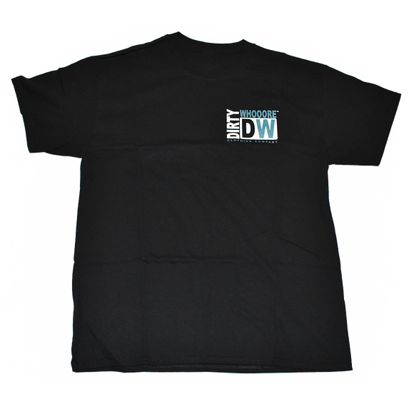 Dirty Whooore Men's Black T with DW Square Teal & White Logo