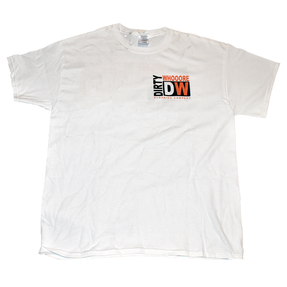 Dirty Whooore Men's White T with DW Square Black & Orange Logo