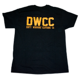 Dirty Whooore Men's Black T with DWCC Yellow Logo