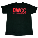 Dirty Whooore Men's Black T with DWCC Red Logo