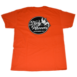 Dirty Whoore Men's Orange T with She Devil Black logo