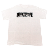 Dirty Whooore Men's White T with Distressed Logo