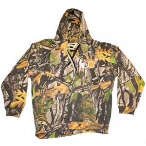 Dirty Whooore Men's Camo Hoodie with DW Square logo & Hockey laces Orange & White