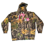 Dirty Whooore Men's Camo Hoodie with DW Square logo & Hockey laces Pink & White