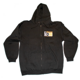 Dirty Whooore Men's Black Full Zip Hoodie with DW Square logo Orange & White