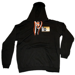 Dirty Whooore Men's Black Hoodie with DW Square logo & Hockey laces Orange & White