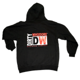 Dirty Whooore Men's Black Hoodie with DW Square logo & Hockey laces Red & White