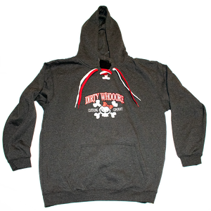 Dirty Whooore Ladies Gray Hoodie with Red Skull Logo