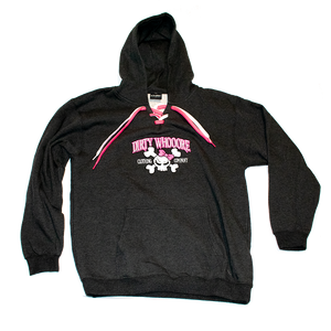 Dirty Whooore Ladies Black Hoodie with Pink Skull Logo
