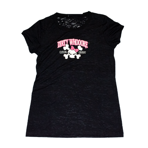 Dirty Whooore Ladies Black Short Sleeve T with Pink Skull Logo