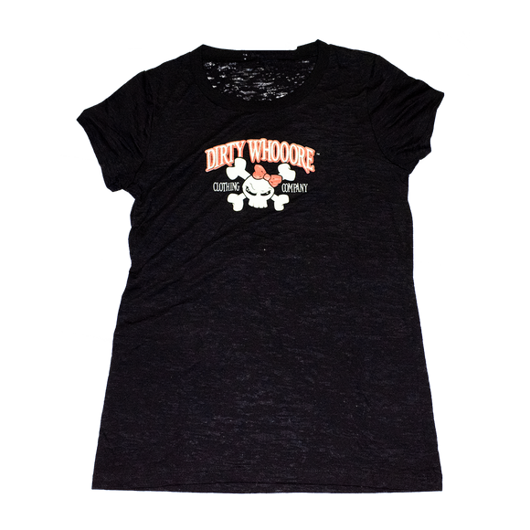 Dirty Whooore Ladies Black Short Sleeve T with Orange Skull Logo