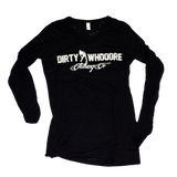 Dirty Whooore Ladies Black Long Sleeve T with White Standing Lady Logo