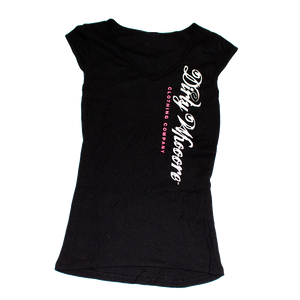 Dirty Whooore Ladies Black Short Sleeve T with Vertical Logo