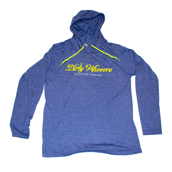 Dirty Whooore Ladies Blue Hooded Long Sleeve T with White and Yellow Logo