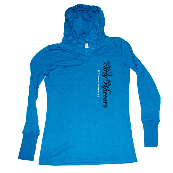 Dirty Whooore Ladies Blue Paisley Hooded Long Sleeve T with Black and White Logo