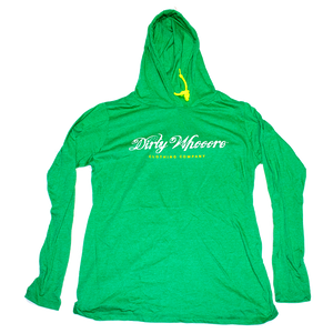 Dirty Whooore Ladies Green Hooded Long Sleeve T with Yellow and White Logo
