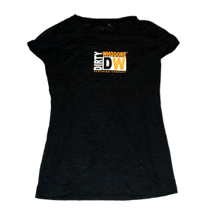 Dirty Whooore Ladies Black Short Sleeve T with Orange & White Square DW Logo