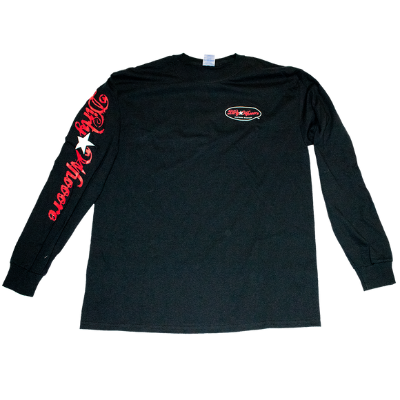 Dirty Whooore Men's Black Long Sleeve T with Star Logo Red