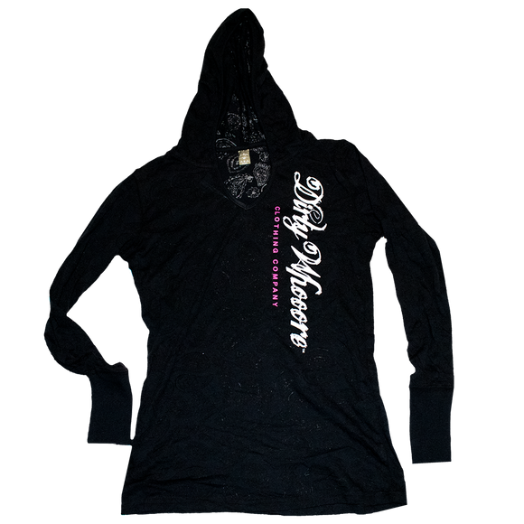 Dirty Whooore Ladies Black Paisley Hooded Long Sleeve T with Black and Pink Logo