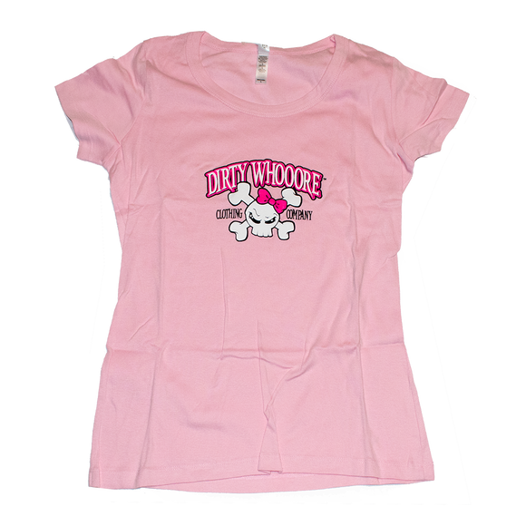 Dirty Whooore Ladies Pink Short Sleeve T with Pink Skull Logo