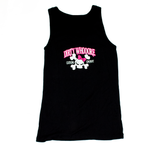 Dirty Whooore Ladies Black Tank with Pink Skull Logo