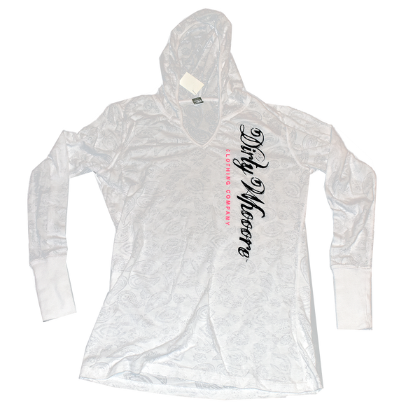 Dirty Whooore Ladies White Paisley Hooded Long Sleeve T with Black and Pink Logo