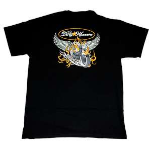 Dirty Whooore Men's Black T with Winged Motorcycle Orange & White Logo
