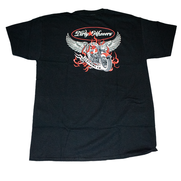 Dirty Whooore Men's Black T with Winged Motorcycle Red & White Logo