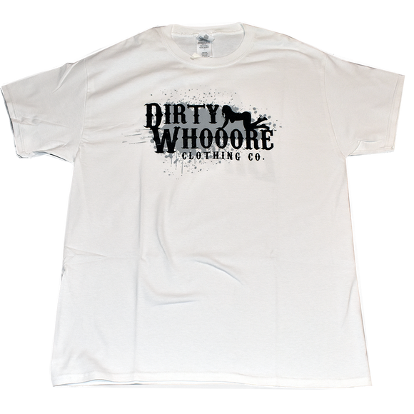 Dirty Whooore Men's White T with Crawling Lady Logo