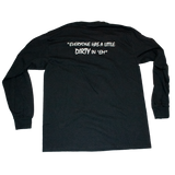 Dirty Whooore Men's Black Long Sleeve T with Star Logo Teal