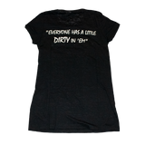 Dirty Whooore Ladies Black Short Sleeve T with White Standing Lady Logo