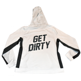 Dirty Whooore Ladies White Hoodie with Black Trim and Black Logo
