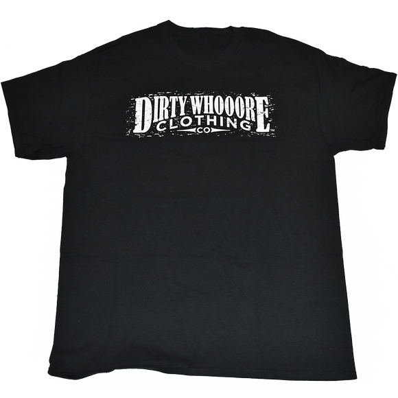 Dirty Whooore Men's Black T with Distressed Logo