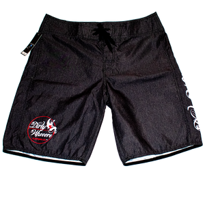 Dirty Whooore Men's Black Board Shorts with She Devil Logo