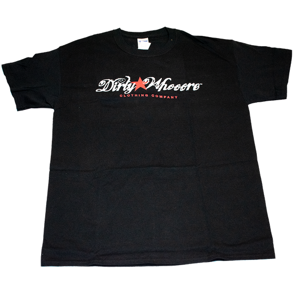 Dirty Whooore Men's Black T with Star Logo Red