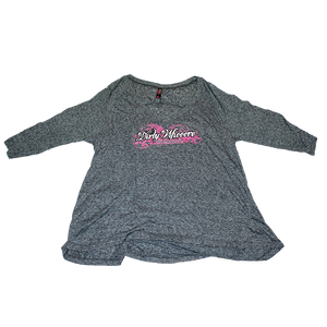 Dirty Whooore Ladies Gray Loose fit 3/4 sleeve Shirt with White & Purple Logo