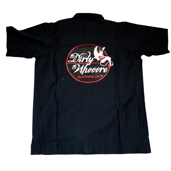 Dirty Whooore Men's Black Wrangler Work Shirt with She Devil Logo Red & White