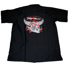 Dirty Whooore Men's Black Wrangler Work Shirt with Winged Motorcycle Logo Red & White