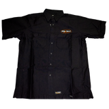 Dirty Whooore Men's Black Wrangler Work Shirt with Winged Motorcycle Logo Orange & White