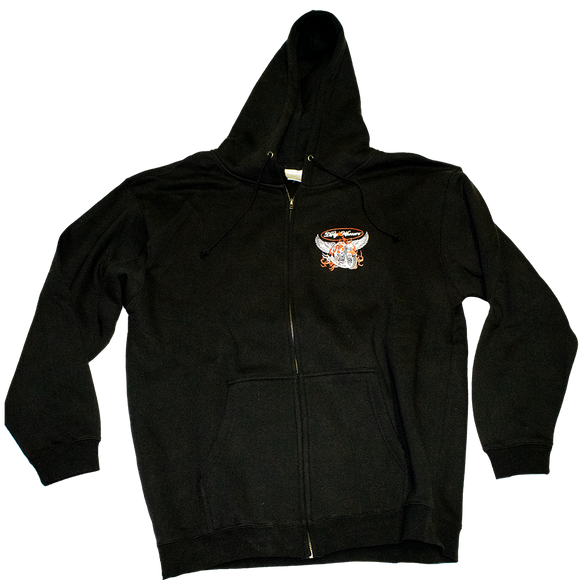 Dirty Whooore Men's Black Hoodie with Winged Motorcycle logo Orange & White