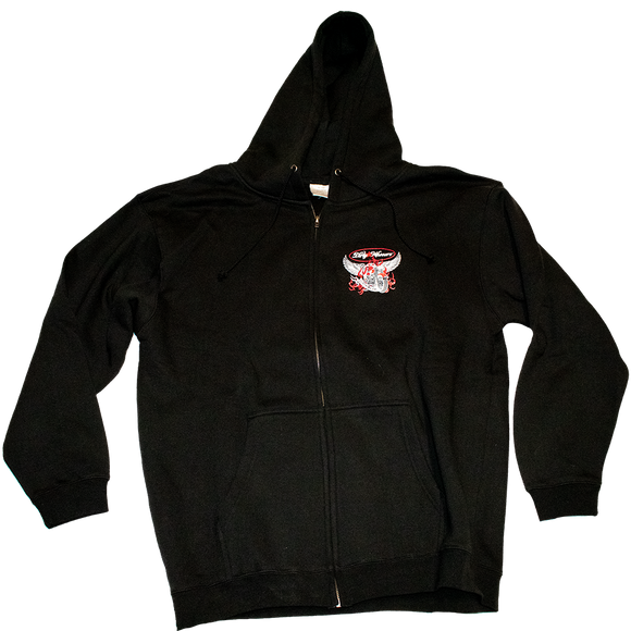 Dirty Whooore Men's Black Hoodie with Winged Motorcycle logo Red & White