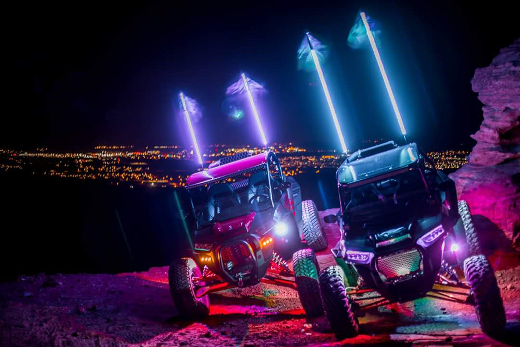 BLUETOOTH 4 FOOT WILDCAT EXTREME LED LIGHT WHIPS (Gen 4 Pair) - R1 Industries whips