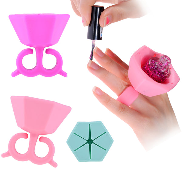 Silicone Nail Art Polish Holder Finger Bottle Stand