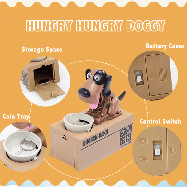 Hungry Dog Coin Bank - Gold Gadget Box