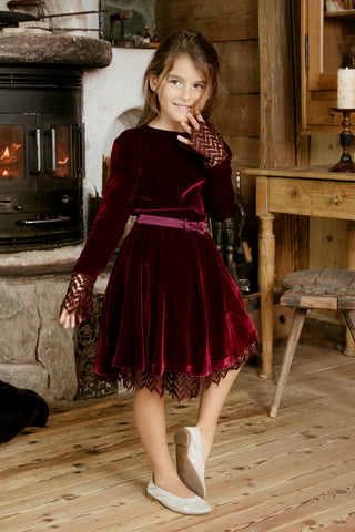Little MINMIN Skirt  in garnet red
